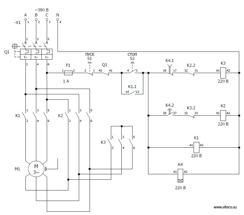 Схема асинхронного двигателя с переключением со звезды на треугольник